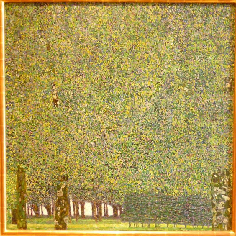 Foto av den original- målning`en parkera`en av Gustav Klimt arkivfoto