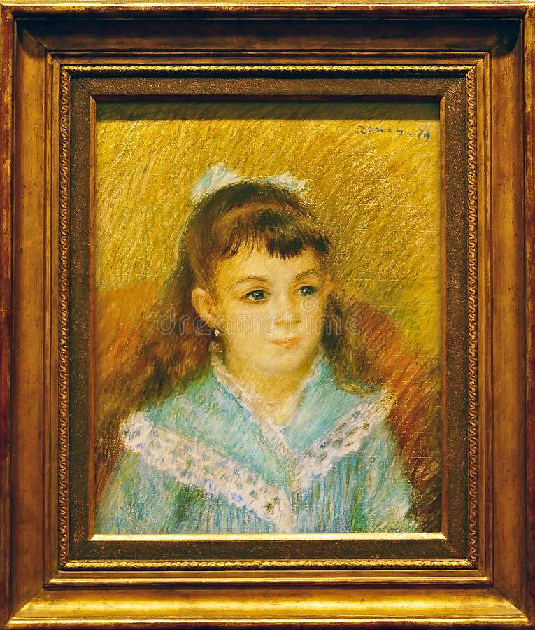 Foto av den original- målning`-ståenden av en ung flicka` av August Renoir royaltyfri bild