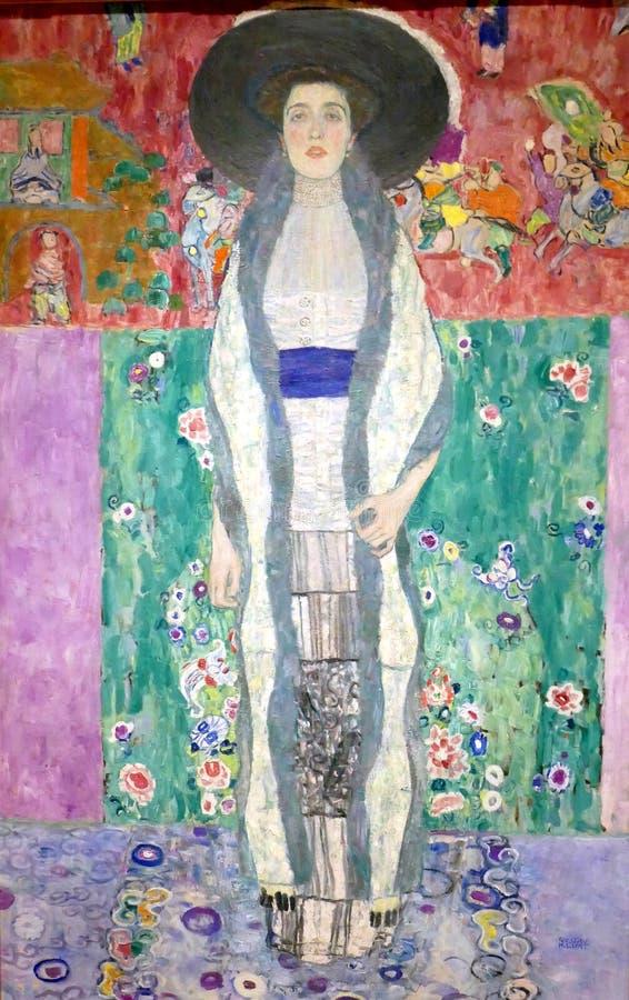 Foto av den original- målningen av Gustav Klimt: `-Stående av Adele Bloch-Bauer II `, royaltyfria foton