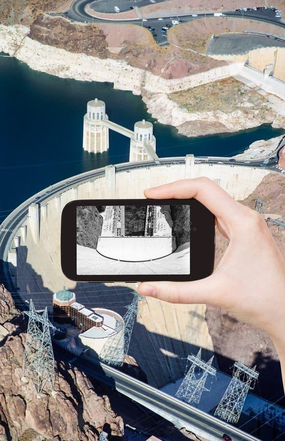 Foto av den ovannämnda sikten av av dammsugarefördämningen, Nevada arkivbilder