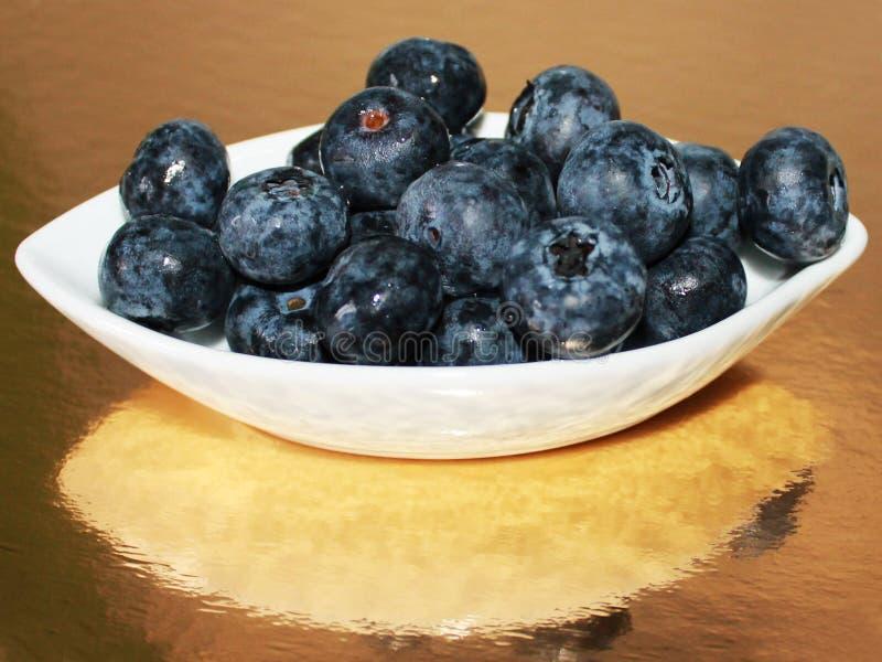 Foto av det nya blåbäret på en platta med reflexion royaltyfri foto