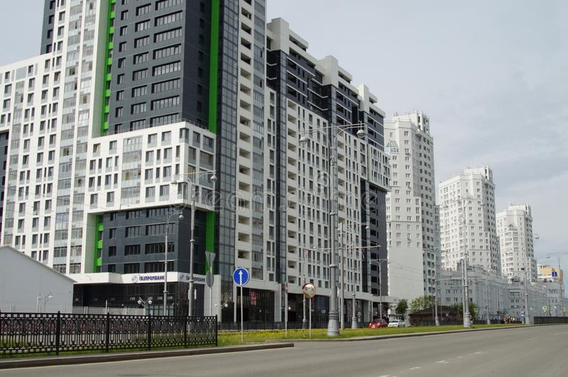 Foto av fragment av nybyggen p? gatan Tatishchev arkivbild