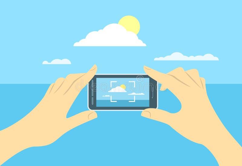 Foto av landskapet vid mobiltelefonen stock illustrationer