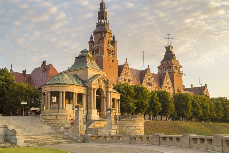 Foto av terrasser som beskådar Haken Terrasein Szczecin royaltyfri bild