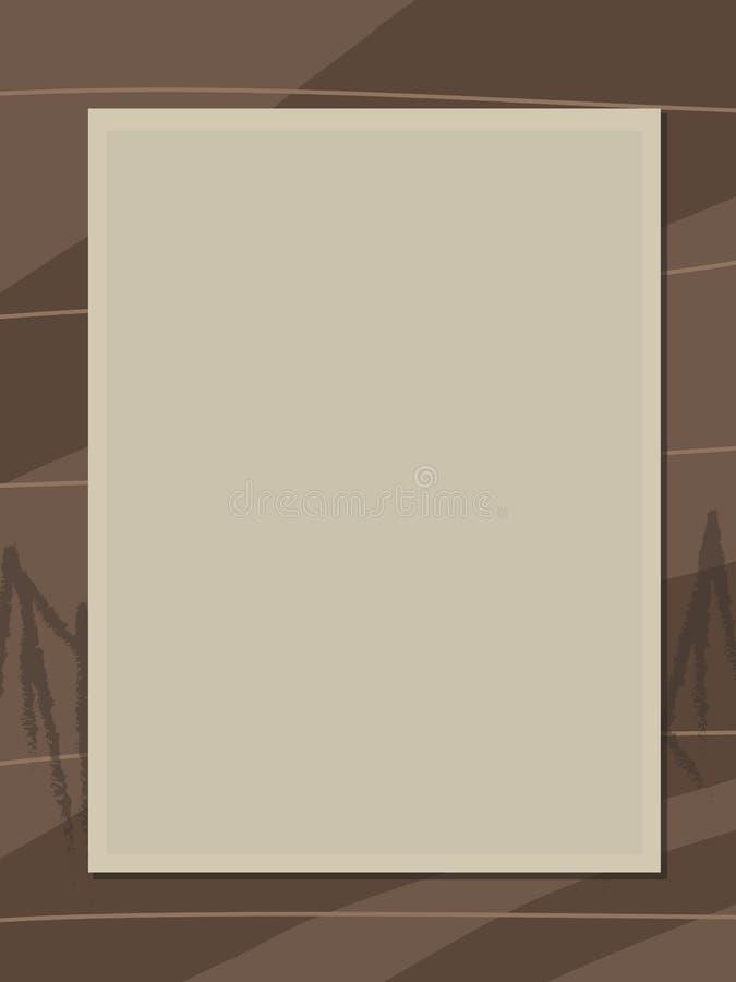 Foto bege velha clara retro velha do quadro da cor do sepia no fundo de madeira marrom ilustração royalty free