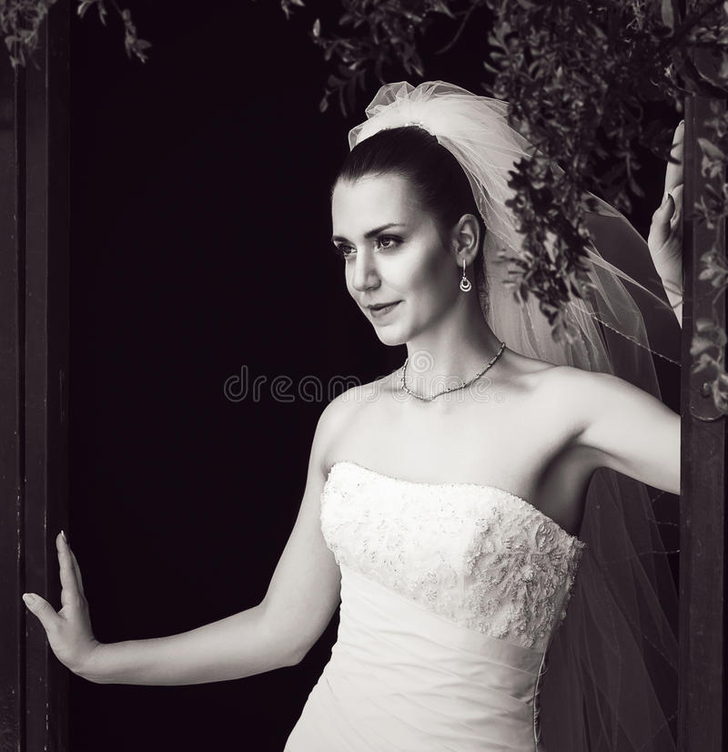 Foto in bianco e nero della sposa enigmatica fotografia stock