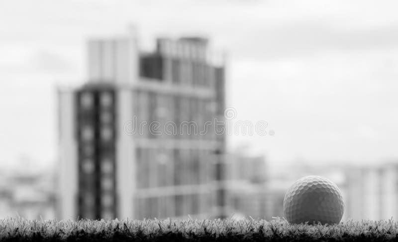 Foto blanco y negro de la pelota de golf en hierba con el backgr del edificio fotos de archivo