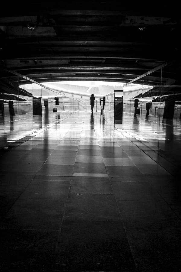 Foto blanco y negro de la silueta de la mujer imagen de archivo