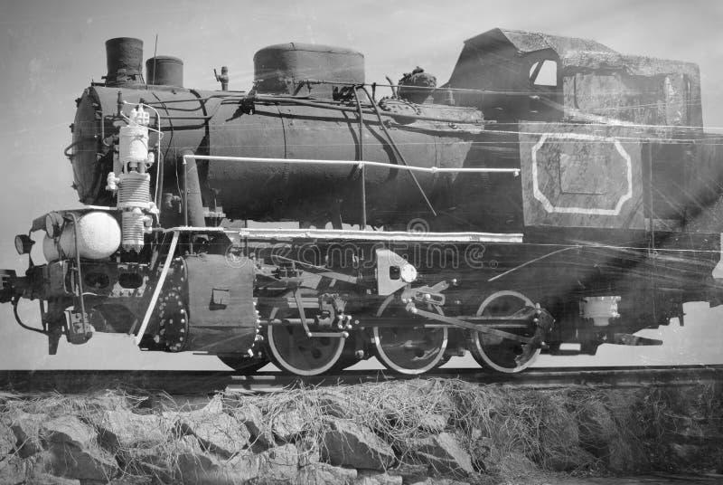 Foto blanco y negro del tren soviético viejo fotos de archivo libres de regalías