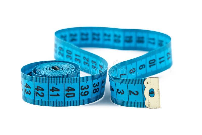 Foto blauwe metende band, cm stock afbeeldingen