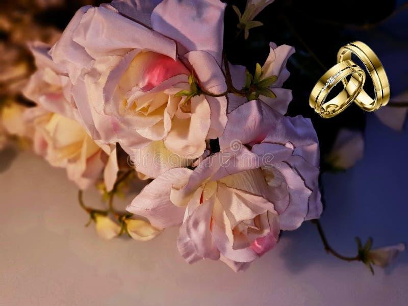 Foto bonita da ilustração do cartão de cumprimentos das flores do ramalhete das rosas do rBackground do casamento do amor do dia  foto de stock royalty free