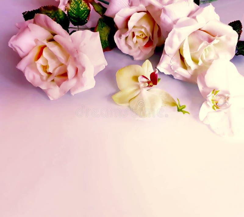 Foto bonita da ilustração do cartão de cumprimentos das flores do ramalhete das rosas do rBackground do casamento do amor do dia  imagens de stock royalty free