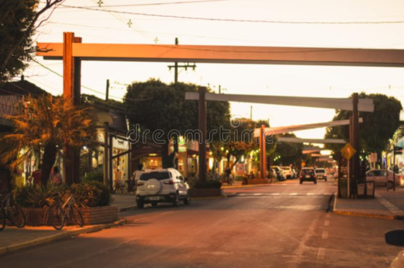Foto borrada da rua principal da baixa de MS do bonito, Brasil fotografia de stock