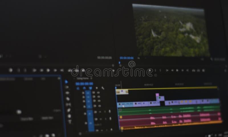Foto borrada do vídeo do espaço temporal e dos sons da ferramenta de edição video imagem de stock royalty free