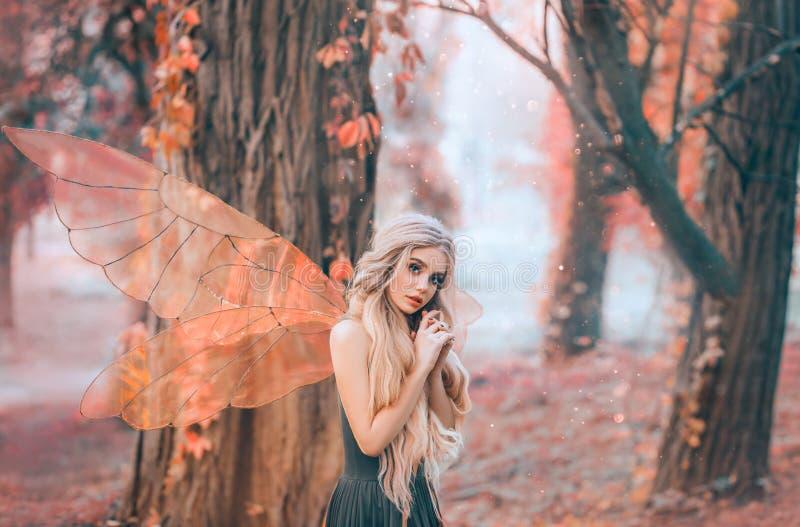 A foto brilhante do verão com raios de brilho do sol, fada misteriosa da floresta caiu no amor com príncipe, menina com cara do f fotos de stock royalty free