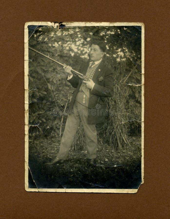Foto-cacciatore antico di originale 1930 immagine stock libera da diritti