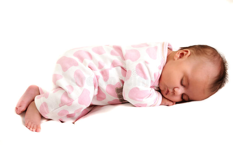 Foto cheia do corpo do bebê recém-nascido calma e do sono fotos de stock