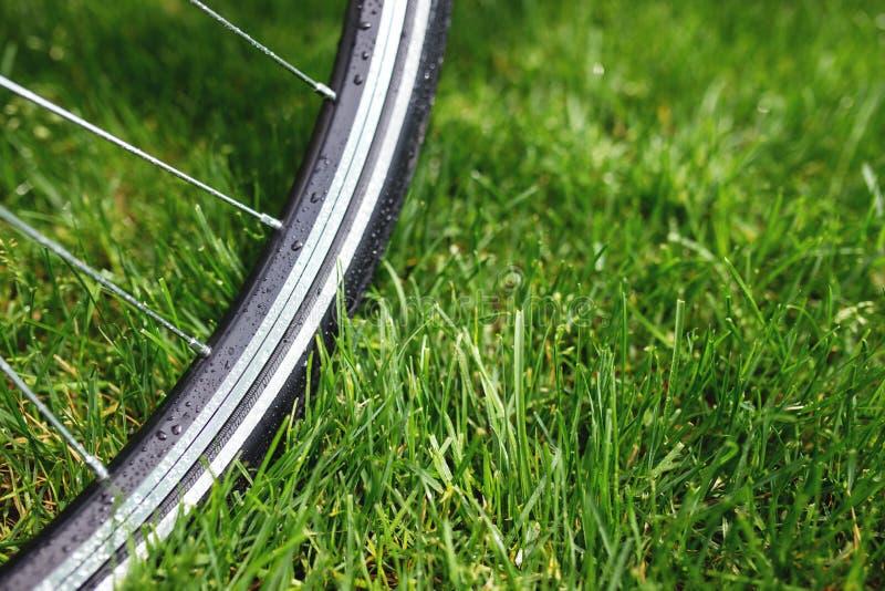 Foto clássica do close-up da bicicleta da estrada no campo do prado da grama verde do verão Fundo do curso fotos de stock royalty free