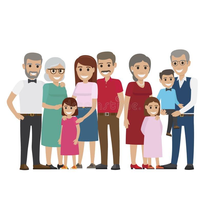 foto colorida da família da Multi-geração no branco ilustração do vetor