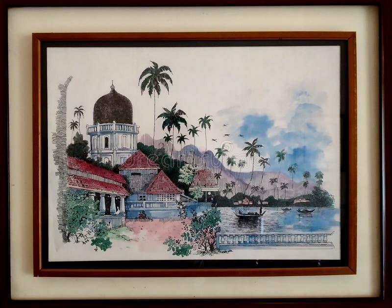 Foto colorida do vintage de uma casa imagens de stock royalty free