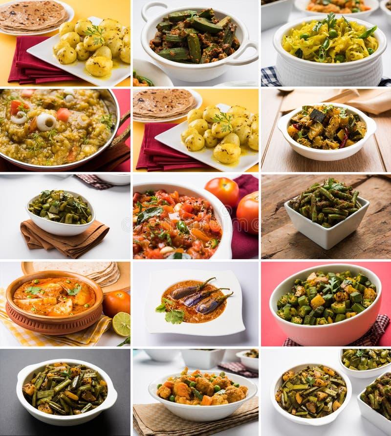 Foto común del collage de la receta vegetal popular india del segundo plato mejor conveniente para el diseño de tarjeta del menú  fotos de archivo libres de regalías