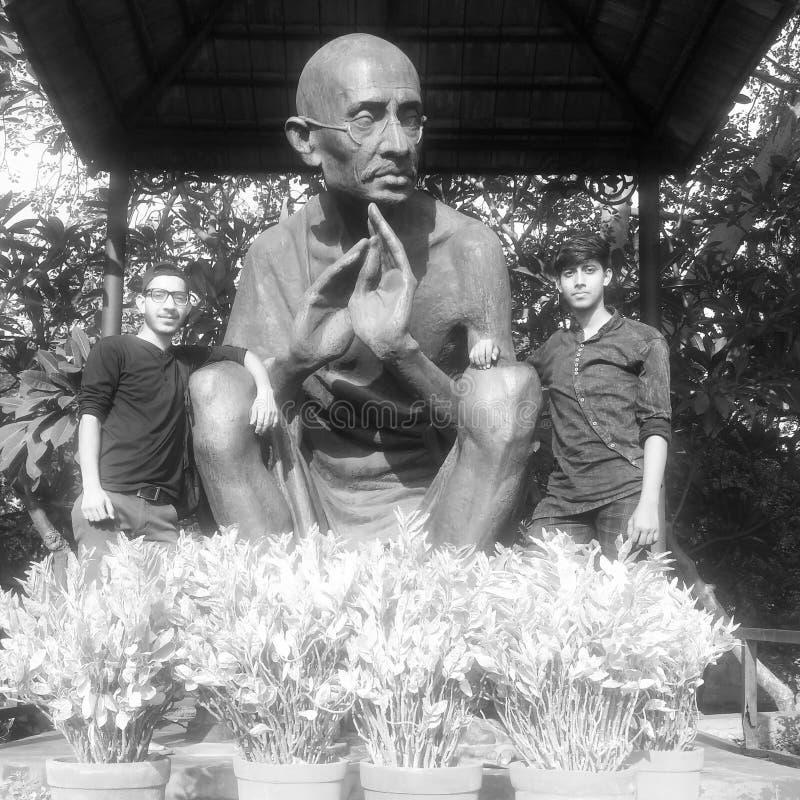 Foto com Mahatma Gandhi imagens de stock