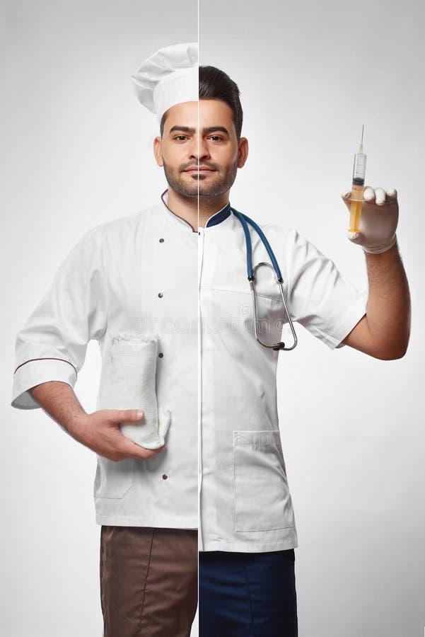 Foto combinada de un cocinero y de un doctor imagen de archivo libre de regalías