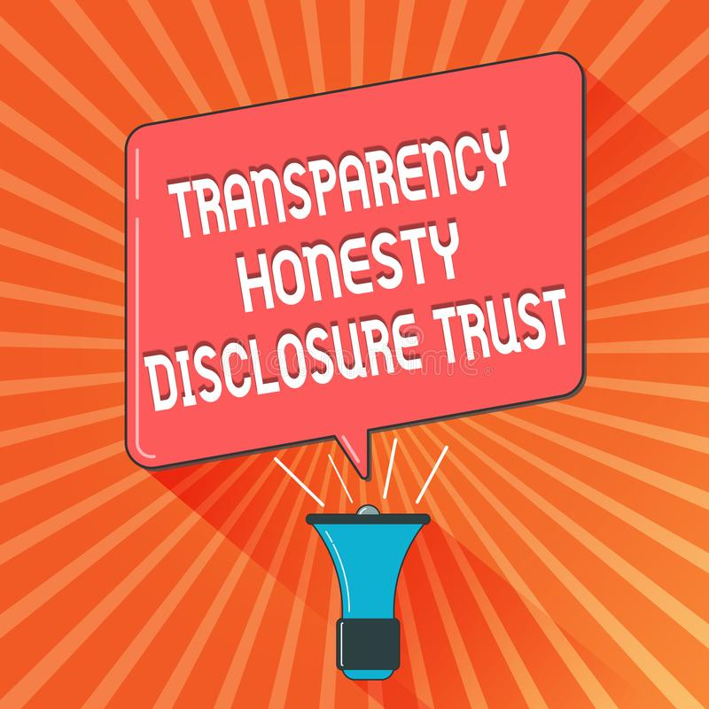 Foto conceptual del negocio de confianza del acceso de la honradez de la transparencia de la demostración de la escritura de la m ilustración del vector