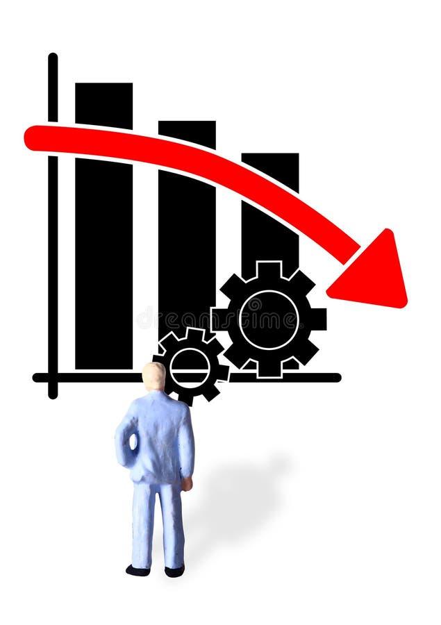 Foto conceptual simples, um homem de negócios estando olhando o progresso de produtividade gráfico, indo para baixo e quase falid ilustração royalty free