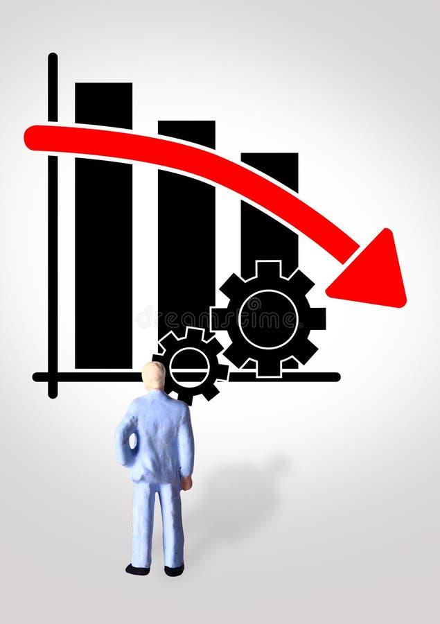Foto conceptual simples, um homem de negócios estando olhando o progresso de produtividade gráfico, indo para baixo e quase falid ilustração do vetor