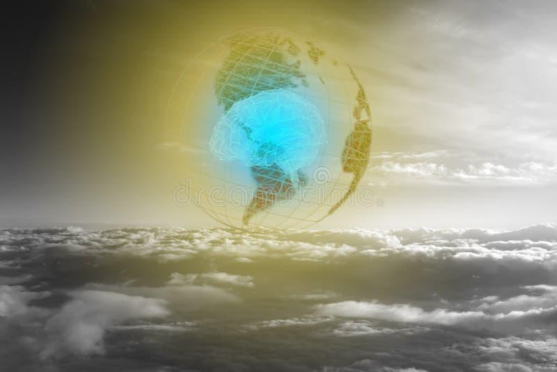 Foto concettuale del futuro della terra, che dipenderà interamente da intelligenza artificiale illustrazione di stock