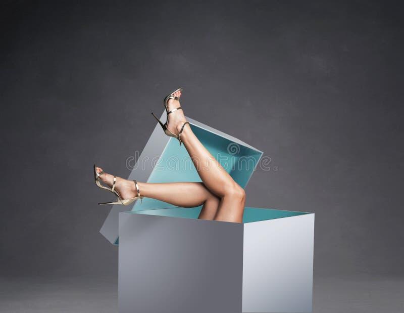 Foto concettuale delle gambe delle donne nel contenitore di regalo enorme immagini stock libere da diritti