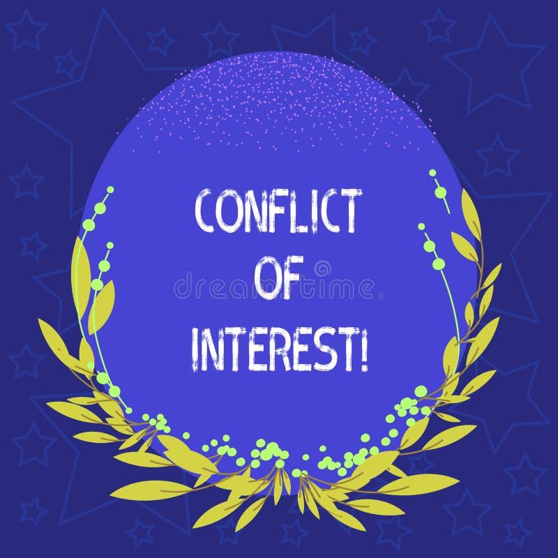 Foto concettuale di affari di conflitto di interessi di rappresentazione di scrittura della mano che montra gli interessi del dov royalty illustrazione gratis