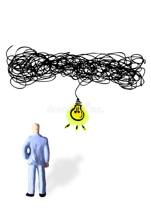 Foto concettuale semplice, stante indietro l'uomo d'affari di posa, complicato e difficile ottenere un'idea illustrazione vettoriale