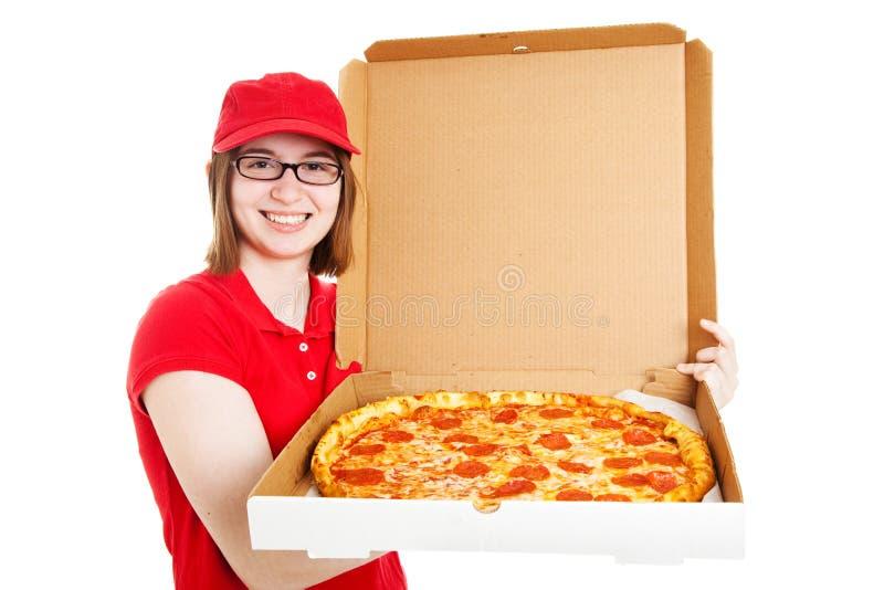 Foto conservada em estoque da menina bonita da entrega da pizza imagens de stock royalty free