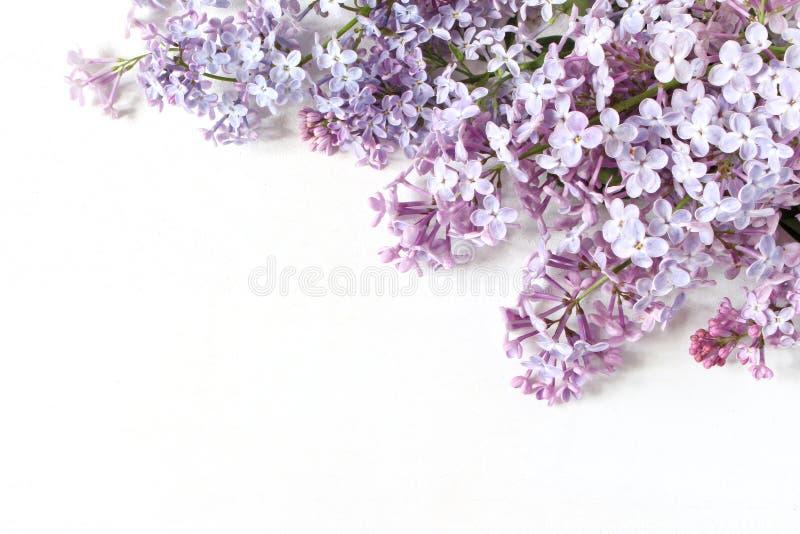 Foto conservada em estoque denominada Cena feminino da mola, composição floral A bandeira decorativa, encurrala feito do lilás ro imagens de stock