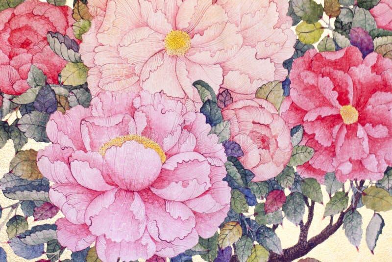 Foto conservada em estoque - a tela floral de seda com rosa do vermelho floresce em um beig fotografia de stock royalty free