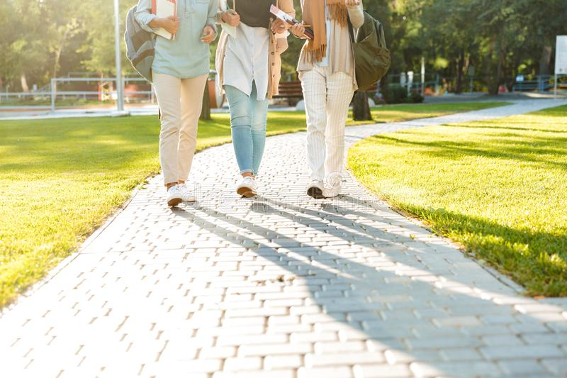 Foto cosechada de las mujeres musulmanes de las hermanas de los amigos que caminan al aire libre foto de archivo libre de regalías