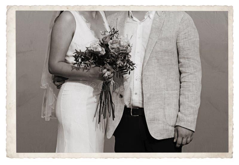 Foto d'annata con la persona appena sposata immagini stock libere da diritti