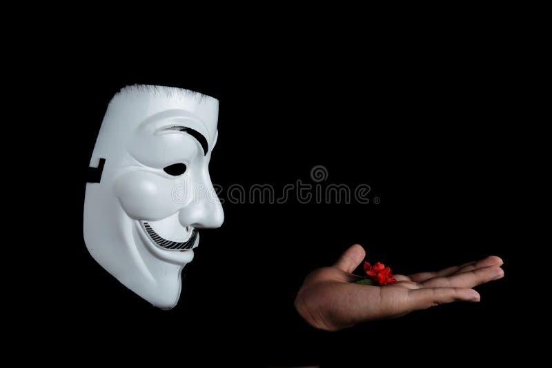 Foto Da Flor De Guy Fawkes Mask With Red Na Parte Superior Disponível Domínio Público Cc0 Imagem