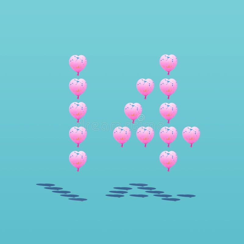 Foto da forma cor-de-rosa do coração do balão no número 14 Valentim e conceitos do amor ilustração do vetor