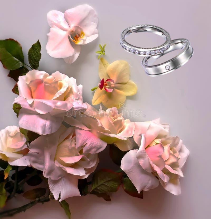 Foto da ilustração do cartão de cumprimentos do ramalhete das rosas do fundo do casamento do dia de Valentine Women bonito das ro fotografia de stock
