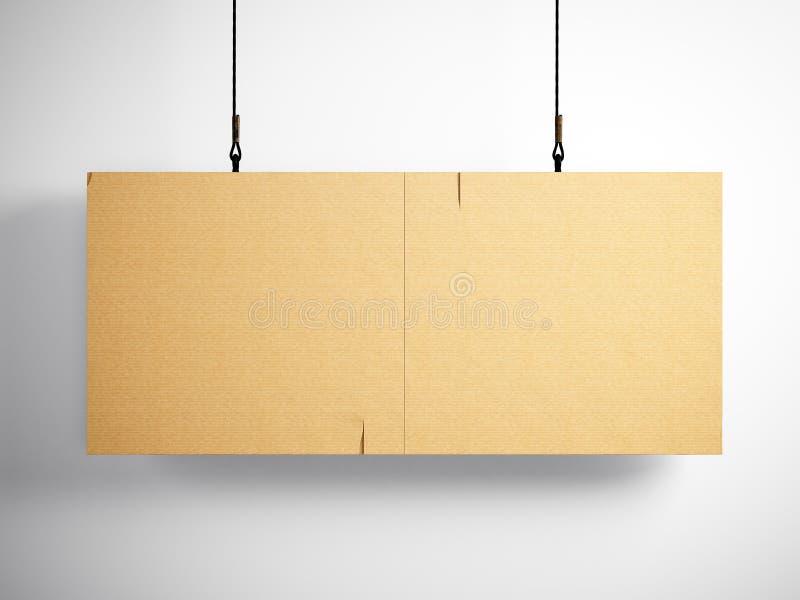 Foto da lona vazia do ofício que pendura no fundo branco 3d rendem ilustração royalty free
