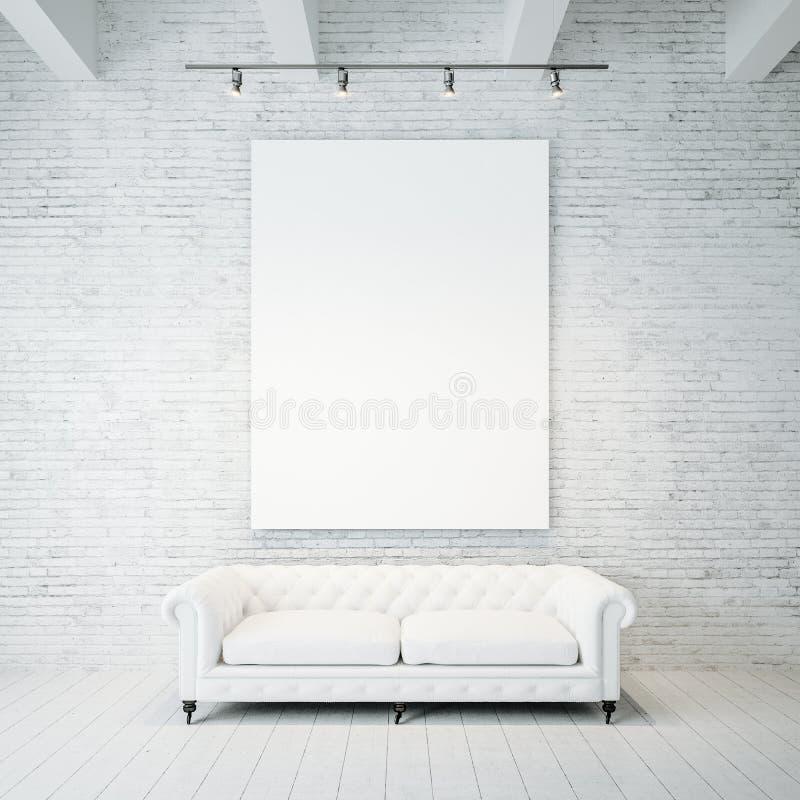 Foto da lona vazia no fundo da parede de tijolo foto de stock royalty free