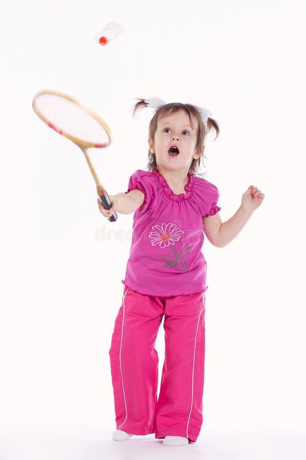 Foto da menina que joga o badminton foto de stock royalty free