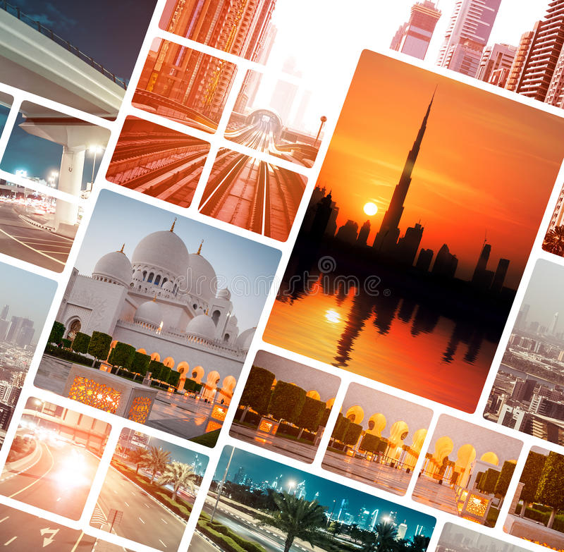 Foto da noite de Dubai e de Abu Dhabi imagem de stock