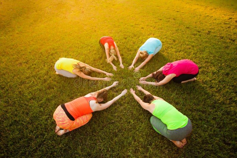 Foto da opinião superior da luz solar das mulheres que praticam a ioga imagens de stock royalty free