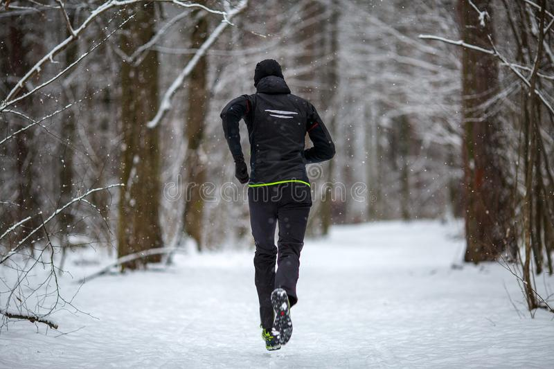 Foto da parte traseira do atleta na corrida no inverno fotos de stock royalty free
