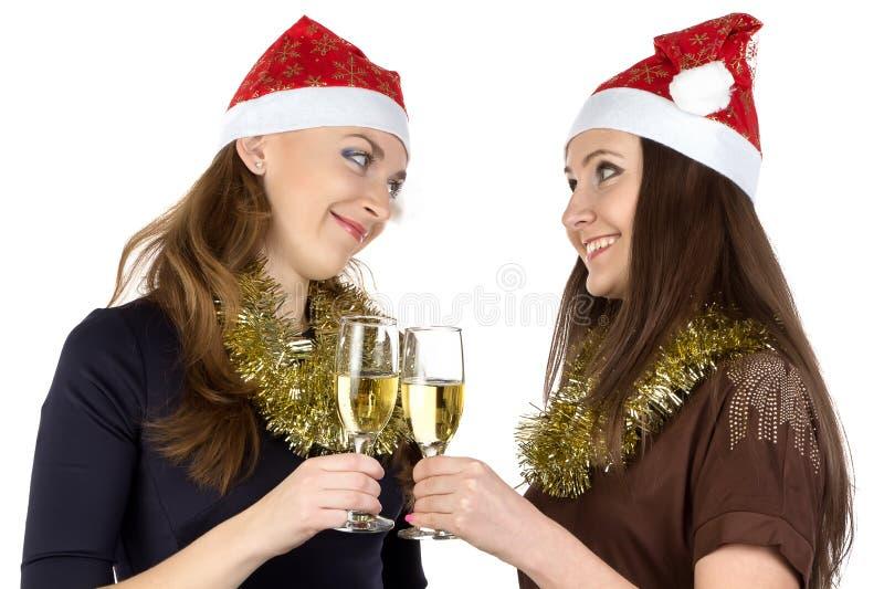 Foto das mulheres com champanhe dos vidros fotografia de stock