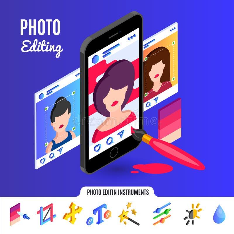 Foto, das Werkzeuge für Social Media-Netze redigiert lizenzfreie stockbilder